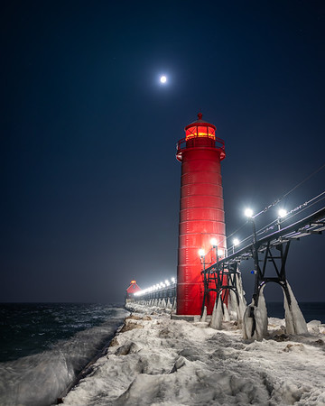 Moon in Winter Over Grand Haven