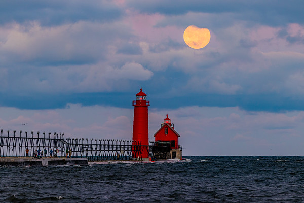 The Harvest Moon Sets Over the Grand Haven Pier