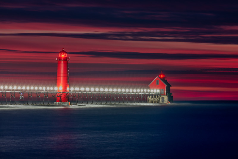 Sunset Colors Linger in Grand Haven