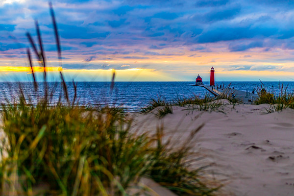 Grand Haven Light House and Pier at Sunset
