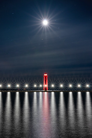 Lunar Alignment Over the Grand Haven Pier