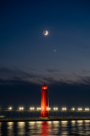 The Moon and Venus Line Up Over Grand Haven