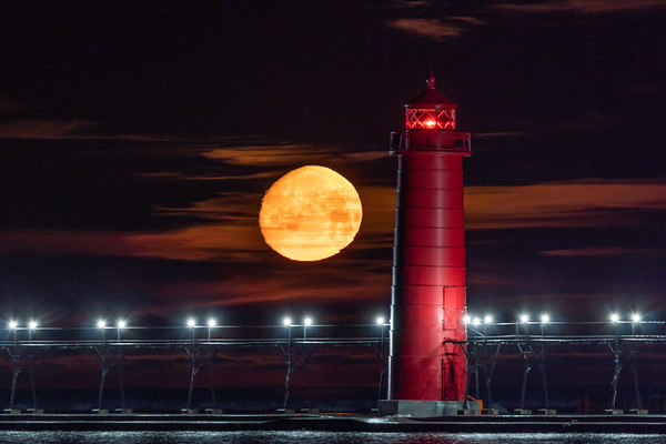 Early Morning Moonset in Grand Haven 1