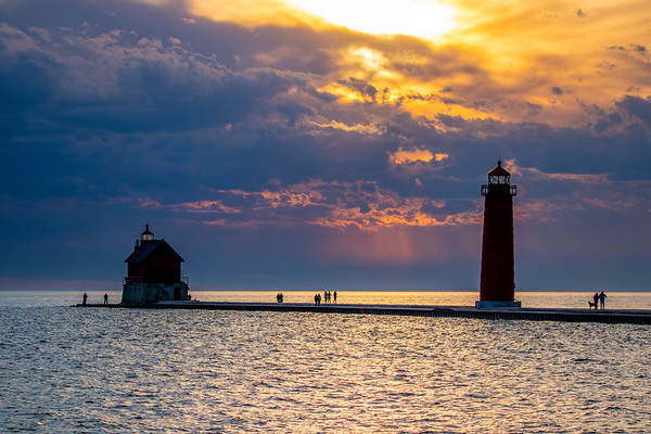Dramatic Clouds at Sunset in Grand Haven