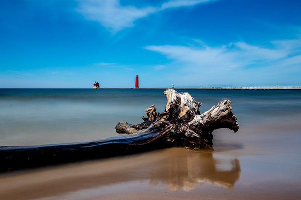Driftwood and the Grand Haven Pier - Long Exposure