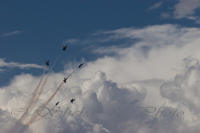 The Blue Angel planes are small, but I loved this shot with the clouds. The whole sequence was fun as the Angels burst past the beautiful clouds.