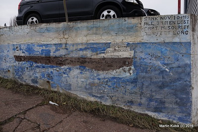 A mural with Lake Superior History.