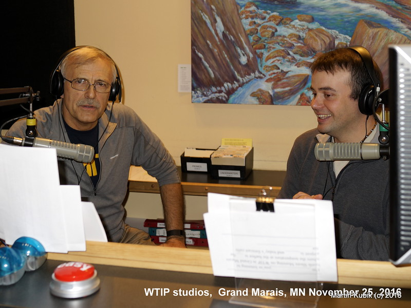 Joe Friedrichs (R)  interviews Martin Kubik (L) about Brule Lake cabin