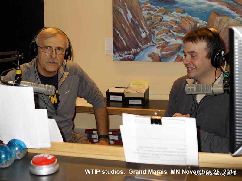 Joe Friedrichs (R)  interviews Martin Kubik (L) about Brule Lake cabin