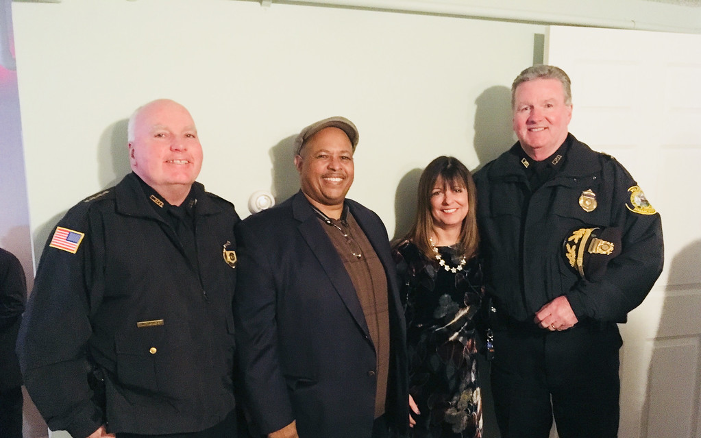 . From left, Lowell Police Superintendent William Taylor of Dracut, Frank Campos of Lawrence, Zack�s House President Louise Griffin of Lowell and Lowell police Deputy Superintendent Kelly Richardson of Lowell