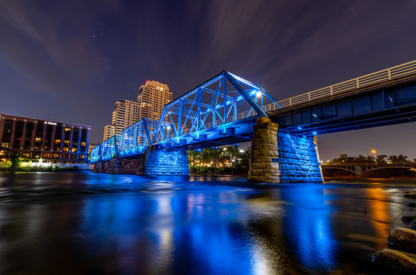 The Grand Rapids Blue Bridge Before Sunrise (Landscape/Horizontal)