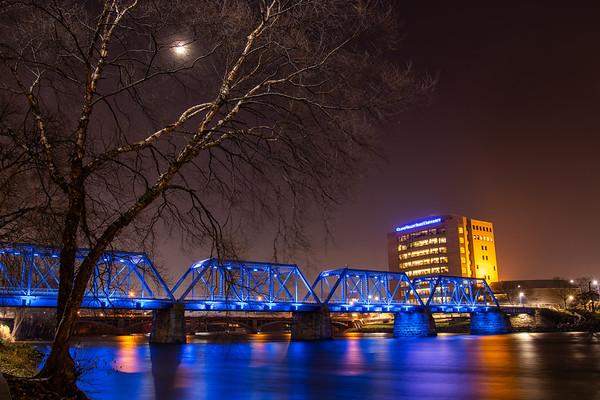 Grand Rapids Blue Bridge Spanning the Grand River Under the Moon