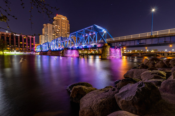 Grand Rapids Blue Bridge Lit Purple