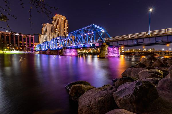Grand Rapids Blue Bridge Lit Purple