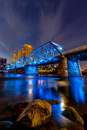 The Grand Rapids Blue Bridge Before Sunrise (Portrait/Vertical)