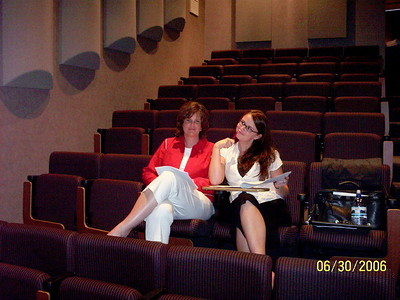 Michelle and Angie in the audience listening to the lecture.  (c) APS Foundation of America, Inc.
