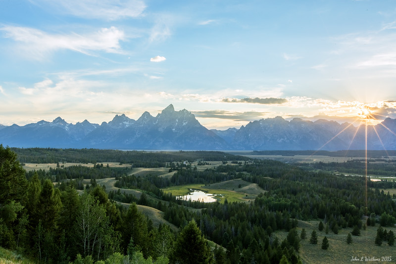Sunstar Over Jackson Hole and the Tetons