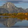 Mt Moran with Fall colors and reflections at Oxbow Bend.