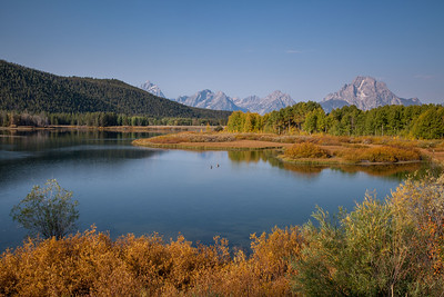 Snake River and the Teton Range, highlighting Mount Moran, at Oxbow Bend
