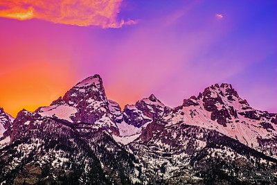 The Cathedral Group Proper at Sunset, Grand Teton National Park