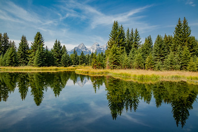 The Tetons and the Snake River from Schwabacher's Landing, Grand Teton National Park.
