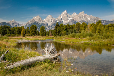Teton Mountains and the Snake River from Schwabacher's Landing in Grand Teton National Park.