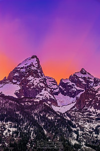 Grand Teton and Mount Owen at Sunset, Grand Teton National Park