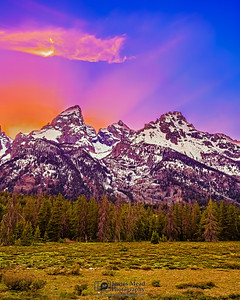 """Mountain Light,"" the Cathedral Group Proper at Sunset, Grand Teton National Park, Wyoming"