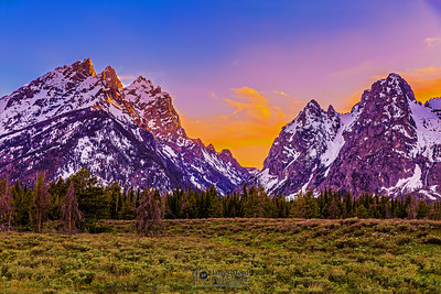 """Between the Peaks,"" Sunset Between Teewinot Mountain and Mount St John, Grand Teton National Park, Wyoming"