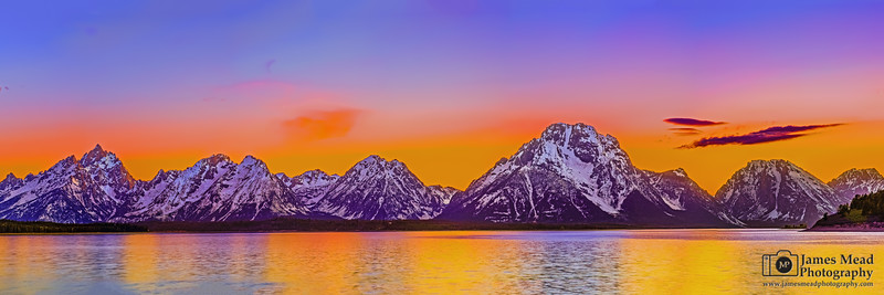 """Summit Row,"" Seven Peaks of the Teton Range at Sunset over Jackson Lake, Grand Teton National Park, Wyoming"