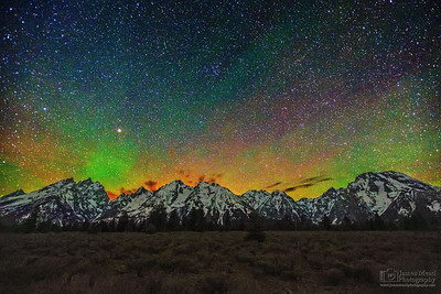 """Teton Light Dance,""  The Aurora Borealis over the Grand Tetons, Grand Teton National Park, Wyoming"