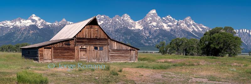 Moulton Mormon Barn and The Grand Teton Range panorama.