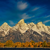 Grand tetons with Fall color, Schwabacher Landing