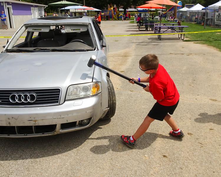 17 Cooper & Faith Visit 08-27-2016 - Cooper Smashed Car