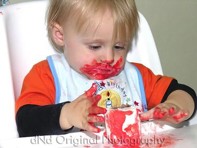 022 Ian's 1st Birthday 57 - Ian Eating Cake