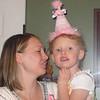 Sophie wearing her birthday hat.