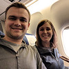 Ben & Kelly sitting on KLM #661 heading home. Spoiler alert - you'll hit a strong head wind. Now, it's an 11 hour flight vs. a 9 hour flight there. See you soon.