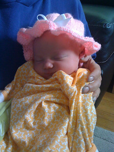 pretty in my little pink hat (thanks Grandma Lindholm!)