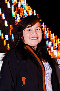 Ava in front of Benicia Christmas Tree.