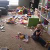 Just a shot of what a half-dozen playing kids can do to a room.