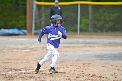 BRANDON ROUNDING 2ND BASE DURING GAME WITH OAK RIDE ON APRIL 28, 2012 AT STOKESDALE BALL PARK.
