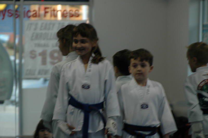 Brooke and Dalton waiting for their Brown Belt presentation 2/4/09.
