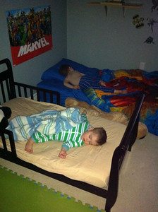 """Eli's first night in his """"big boy"""" bed  :)    Spring - 2012"""