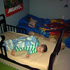 "Eli's first night in his ""big boy"" bed  :)    Spring - 2012"