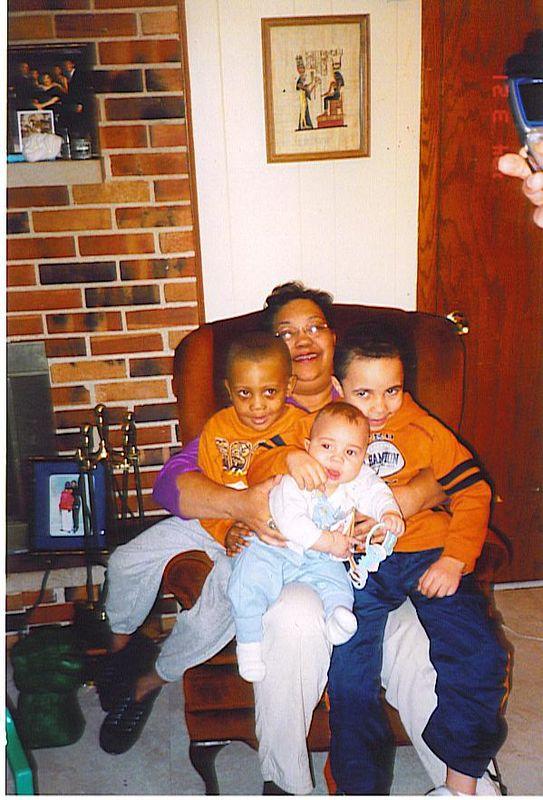 BaBa, Doris, and her grandchildren on Isaiah's birthday, January 6, 2004.