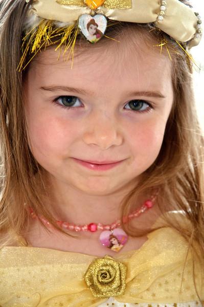 Chloe all dressed up as Disney's Belle.