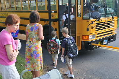 Getting on the bus for first day of Kindergarten.