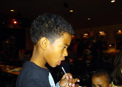 Noah taking one last sip before he leaves.