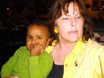 Isaiah and Grandma eating.