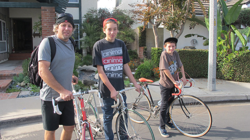 Dad, David and Jeffrey heading back to Fullerton. Don't smile Day! 2013